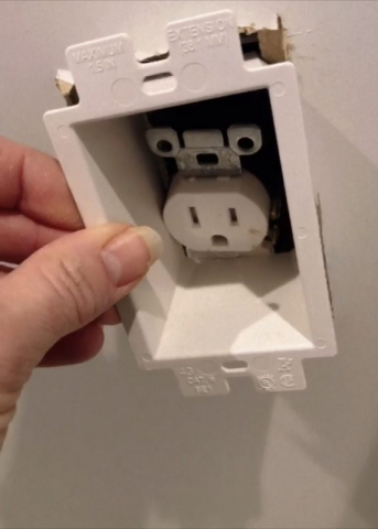 add electrical outlet to a cabinet back