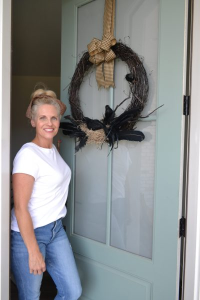 Black crow wreath for halloween