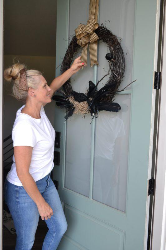 hanging a wreath on door